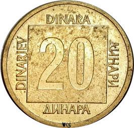 Yugoslavia 20 Dinara 1988-1989 KM#132