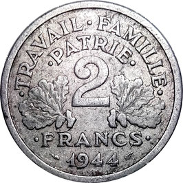 France 2 Francs 1943-1944 Beaumont-le-Roger KM#904.2