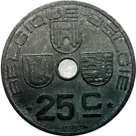 Belgium 25 Centimes 1942-1946 BELGIQUE - BELGIE (German Occupation) KM#131