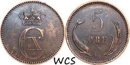 Denmark 5 Öre 1906 VBP KM#794.2 VF+