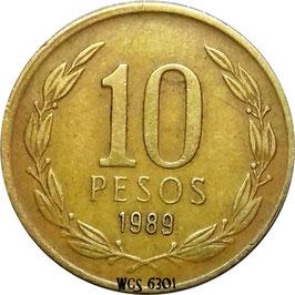 Chile 10 Pesos 1988-1990 KM#218.2 & 218.3