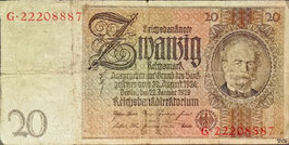 Germany 20 Reichsmark 22.01.1929 Ro 174 Underprint/Series H/G