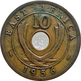 East Africa 10 Cents 1956 - Elizabeth II KM#38 VF