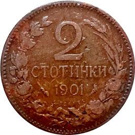 Bulgaria 2 Stotinki 1901 KM#23.1 VF-