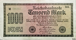 Germany 1000 Mark 15.09.1922 Ro 75f Printer: MK
