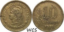 Argentina 10 Centavos 1970-1975 KM#66