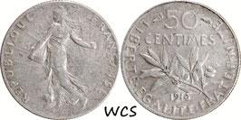 France 50 Centimes 1916 KM#854 VF