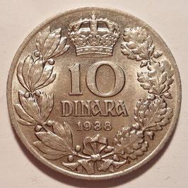 Yugoslavia 10 Dinara 1938 KM#22 VF
