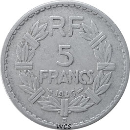 France 5 Francs 1945-1950 Beaumont-le-Roger  KM#888b.2