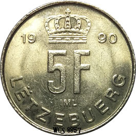 Luxembourg 5 Francs 1989-1995 KM#65