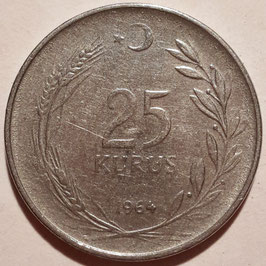 Turkey 25 Kurus 1960-1966 KM#892.2
