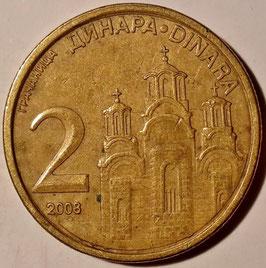 Serbia 2 Dinara 2008 KM#46 VF