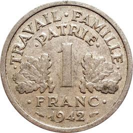 France 1 Franc 1942-1944 KM#902.1