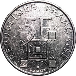 France 5 Francs 1989 - 100th Anniversary of the Eiffel Tower KM#968 VF+
