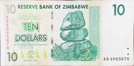 Zimbabwe 10 Dollars 2007 P.67 VF