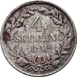 Denmark 4 Skilling Rigsmont 1854 KM#758.1 F