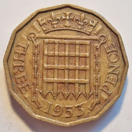Great Britain 3 Pence 1953 KM#886 VF
