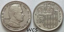 Monaco ½ Franc 1968 KM#145 VF