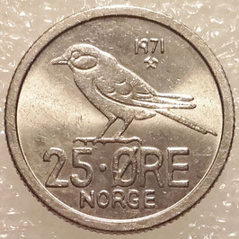 Norway 25 Øre 1958-1973 KM#407