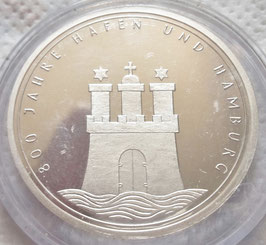 Federal Republic 10 Mark 1989 J - 800th Anniversary - Port of Hamburg KM#171 proof