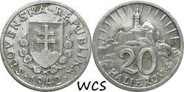 Slovakia 20 Halierov 1942 KM#4a VF-