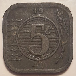 Netherlands 5 Cents 1941-1943 German Occupation KM#172
