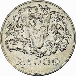 Indonesia 5000 Rupiah 1974 - Orang-Utan KM#40 UNC
