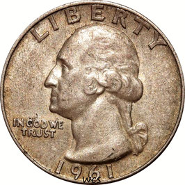 USA Washington Silver Quarter (25 Cents) 1961 D KM#164 VF