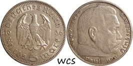 Germany - Third Reich 5 Reichsmark 1936 A KM#86 VF