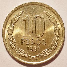 Chile 10 Pesos 1981-1987 KM#218.1