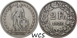 Switzerland 2 Francs 1920 B KM#21 F+