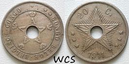 Belgian Congo 20 Centimes 1911 KM#19 VF
