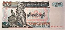 Myanmar 20 Kyats 1994 P.72 UNC