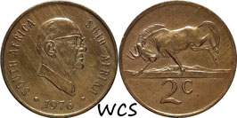 South Africa 2 Cents 1976 KM#92 VF (cleaned) - End of Jacobus Johannes Fouché's Presidency