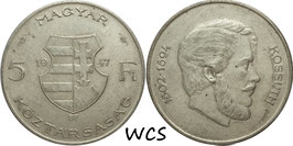 Hungary 5 Forint 1947 - Lajos Kossuth KM#534a VF