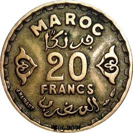 Morocco 20 Francs 1952 (1371) Y#50 VF