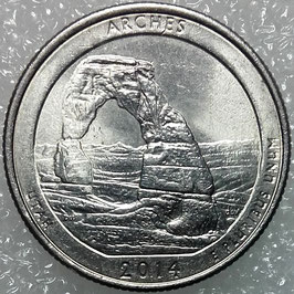 USA 25 Cents (America the Beautiful Quarter) 2014 P - Arches National Park, Utah KM#568 VF