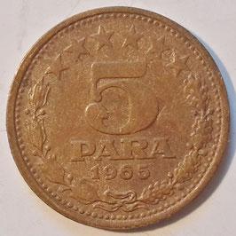 Yugoslavia 5 Para 1965 KM#42
