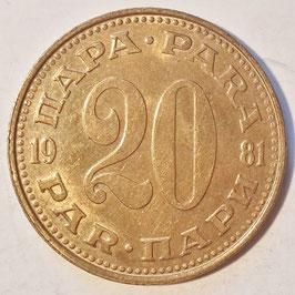 Yugoslavia 20 Para 1965-1981 KM#45