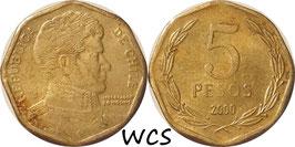 Chile 5 Pesos 1992-2015 KM#232