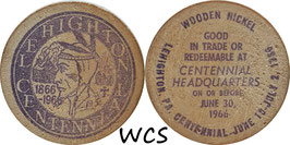 USA 5 Cents (Wooden Nickel)  1966 - Lehighton, PA Centennial