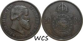 Brazil 20 Reis 1870 KM#474 VF
