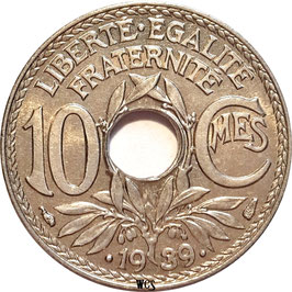 France 10 Centimes 1938-1939 KM#889.1 (dots around date)