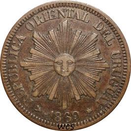 Uruguay 4 Centesimos 1869 H KM#13 VF- (1)