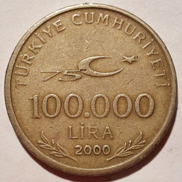 Turkey 100.000 Lira 1999-2000 - 75th Anniversary of the Republic of Turkey KM#1078