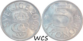 Sweden 5 Kronor 2005 KM#853 XF-
