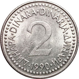 Yugoslavia 2 Dinara 1990 KM#143 VF+