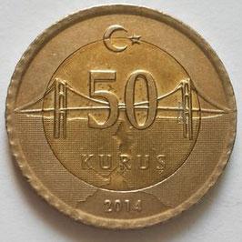 Turkey 50 Kurus 2009-2018 KM#1243
