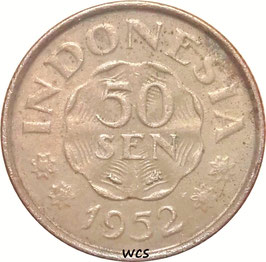 Indonesia 50 Sen 1952 KM#9 VF-