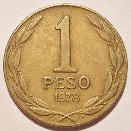 Chile 1 Peso 1978-1979 KM#208a